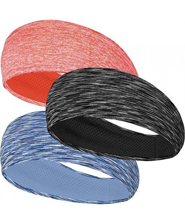 DRSKIN 3 Pack Headbands Sweatbands Hairbands for Women Men Workout Athletic Sports Running Cross Training Yoga All Head Sizes Under Helmets (Headbands (BL/WH+SKY+OR/PI))