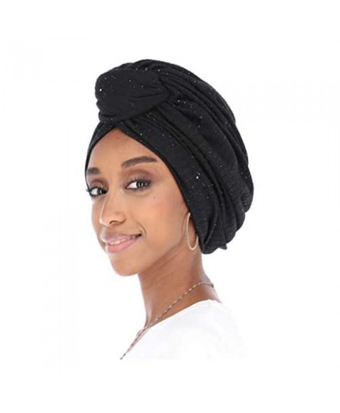 Madison Headwear Turban Headwraps for Women Featuring a Pretied Front Knot & Soft Sparkle Finish for Cancer