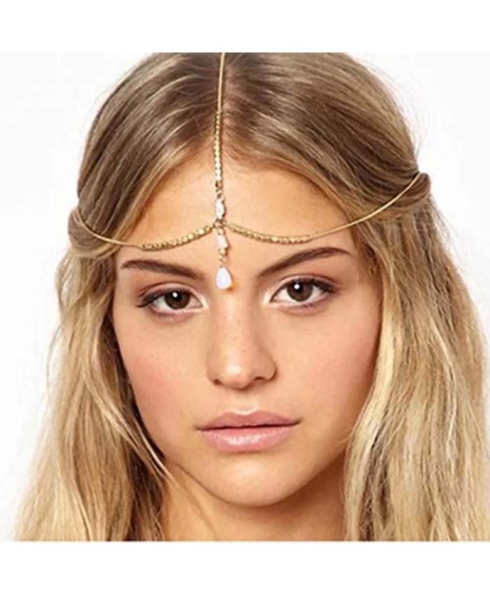 Yizaca Boho Pendant Head Chain Gold Crystal Drop Hair Chain Rhinestone Headpieces Beaded Headband Jewelry for Women and Girls