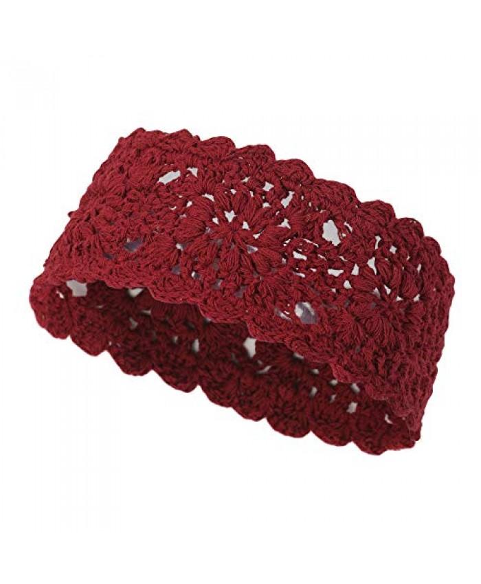 ZLYC Women Headband Handmade Crochet Knit Boho Flower Hair Bands (Crochet Burgundy)