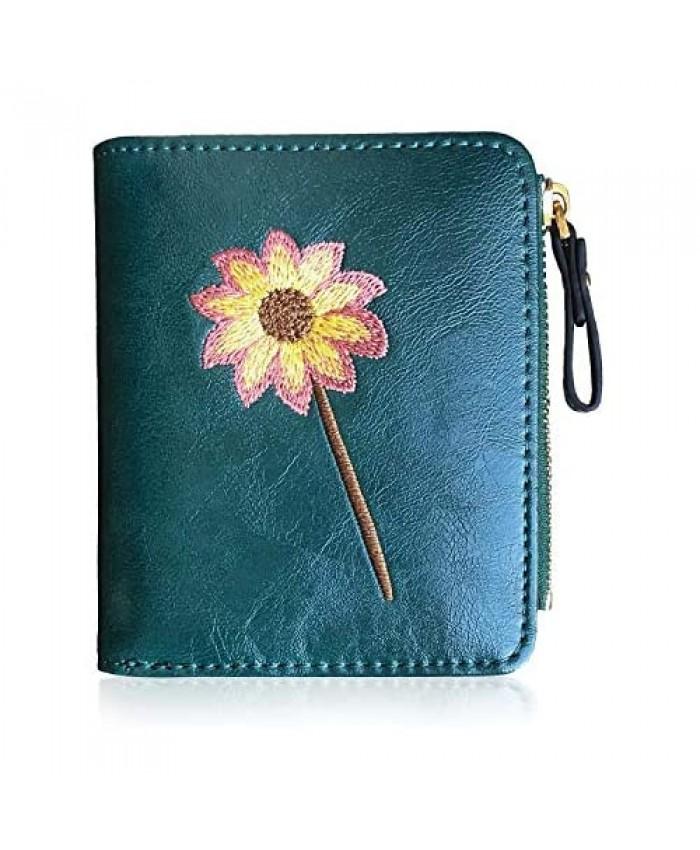 AOXONEL Womens Rfid Small Compact Bifold Wallet Cute Mini Zipper Card Coin Purse for Girls