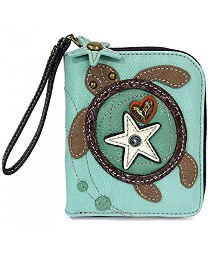 CHALA Zip Around Wallet Wristlet 8 Credit Card Slots Sturdy Pu Leather -Turtle - Blue