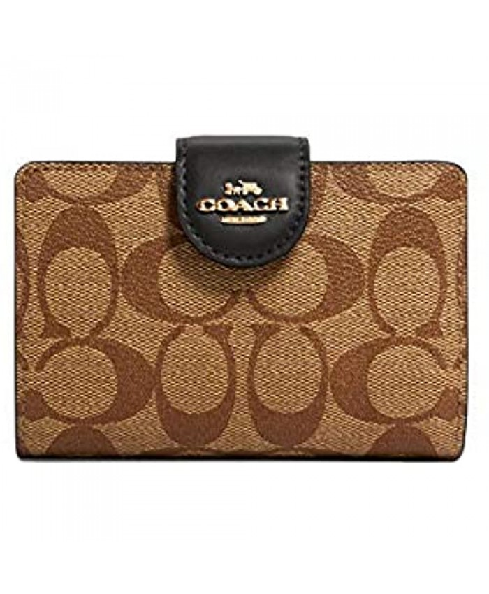 COACH Signature Medium Leather Corner Zip Wallet in Khaki-Black Style C0082