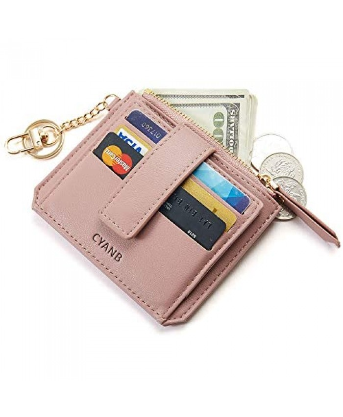 CYANB Small Credit Card Wallet,Slim Zipper Card Cases Holder Front Pocket Wallets for women Girls with Key Chain