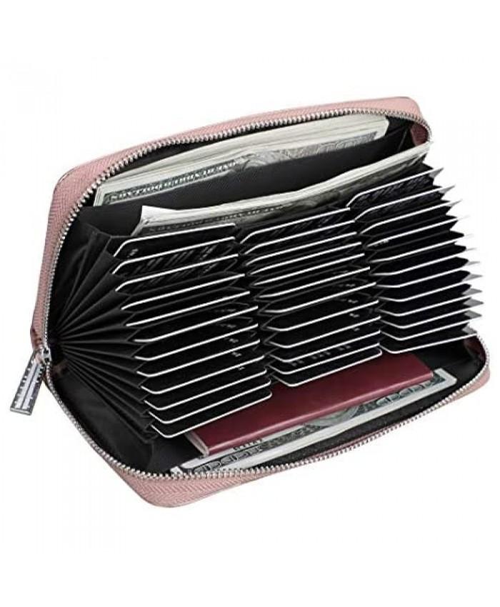 Easyoulife Womens Genuine Leather Credit Card Holder Wallet RFID Secure 36 Slots