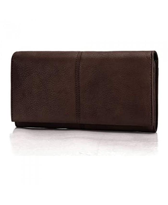 FEI STUDIO Women's Vintage Genuine Leather Long Wallet Dip Dye Coin Purse Ladies Card Organizer