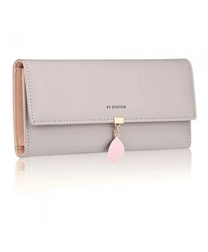FT Funtor RFID Wallets for Women Leaf Card Holder Trifold Ladies Wallets Coins Zipper Pocket with ID Window