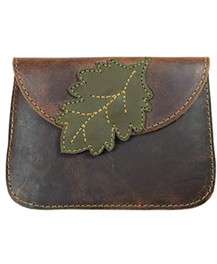 Hide & Drink Leather Leaves Card Wallet / Pouch / Coin & Cash Organizer / Cable Holder / Phone Case / Accessories Handmade Includes 101 Year Warranty :: Bourbon Brown