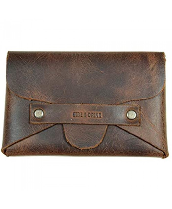 Hide & Drink Leather Snapless Business Card Holder Holds Up to 10 Cards Plus Folded Bills Cash Organizer Accessories Minimalist Wallet Handmade Includes 101 Year Warranty :: Bourbon Brown
