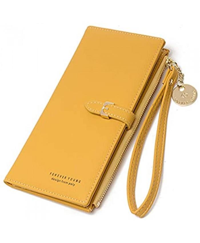 JOSEKO Women's Wallet Long Zipper Purse Anti-theft Soft Leather Card Holder Multifunctional Clutch Bags for Checkbook Organizer Yellow