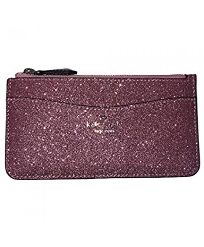 Kate Spade Lola Large Slim Card Holder Rose Pink Glitter Wallet Organizer