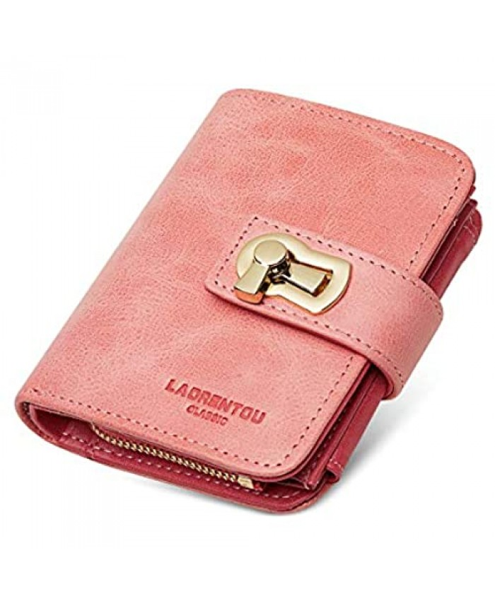 LAORENTOU Women's Small Wallet Genuine Leather Ladies Trifold Wallets for Women Designer Women's Compact Wallet Zip Around Women Coin Credit Card Wallet Gift Box Packaging (Rouge Pink)