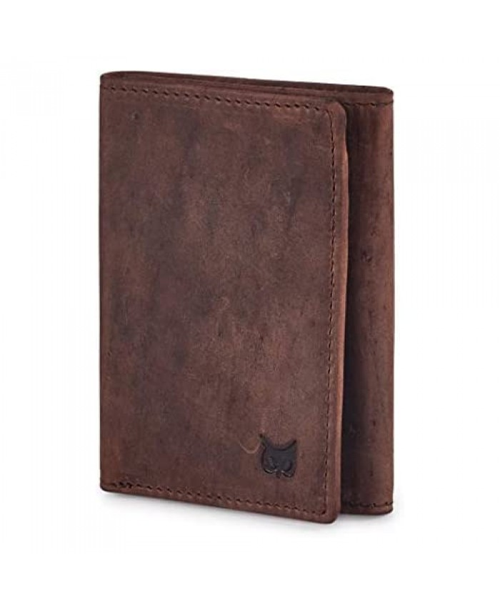 Leather Trifold wallets for men- Travel slim Minimalist wallet mens leather wallet with rfid blocking card wallet