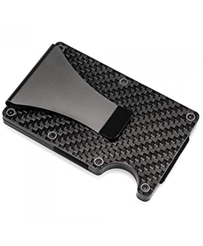 RFID Blocking Carbon Fiber Wallet Slim Money Clip & Minimalist Wallet Aluminum Metal Wallet Front Packet and Business Card Holder