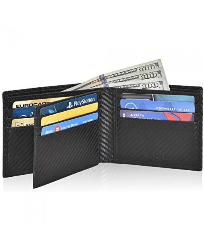 RFID Leather Bifold Wallets for Men-Slim Front Pocket Wallet 9 Credit Card 1 ID