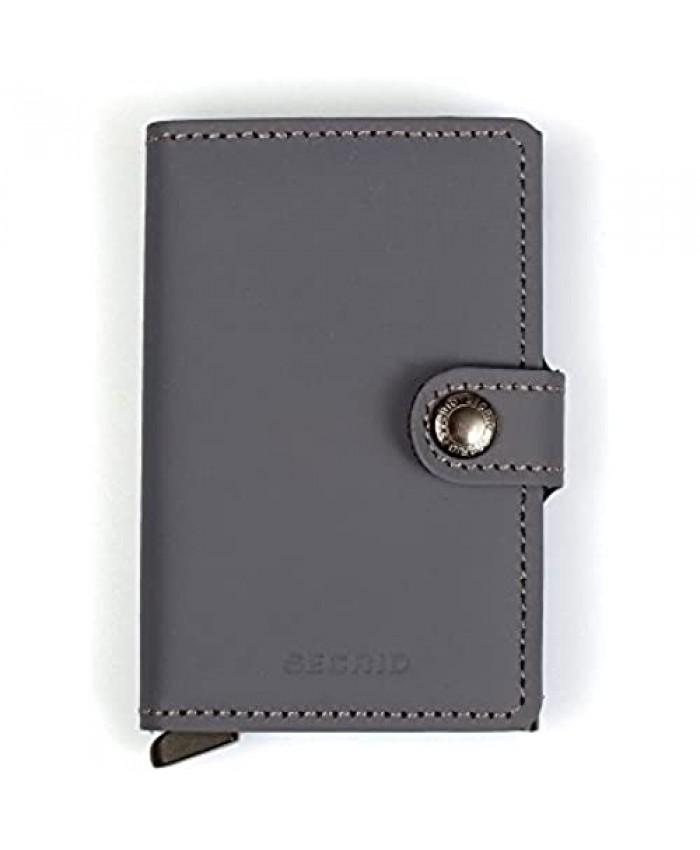 SECRID - Secrid Men's Mini wallet Genuine Matte Leather With RFID Safe Card Case for max 12 cards (Grey Black)