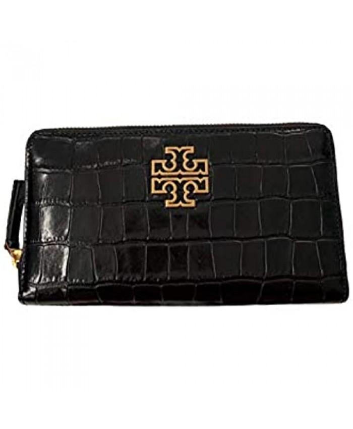 Tory Burch Women's Britten Zip Continental Wallet (Croc - Black)