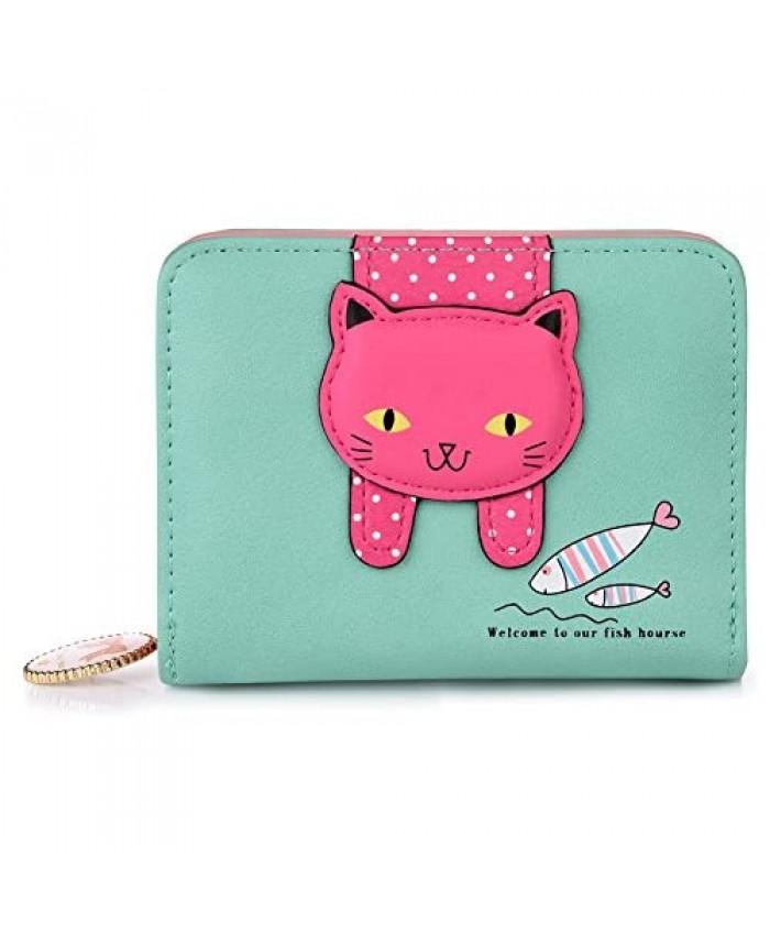 VBIGER Girls Wallet Kids Wallets for Little Girl Cute Cat Wallet Kitty Pattern Coin Purse Small