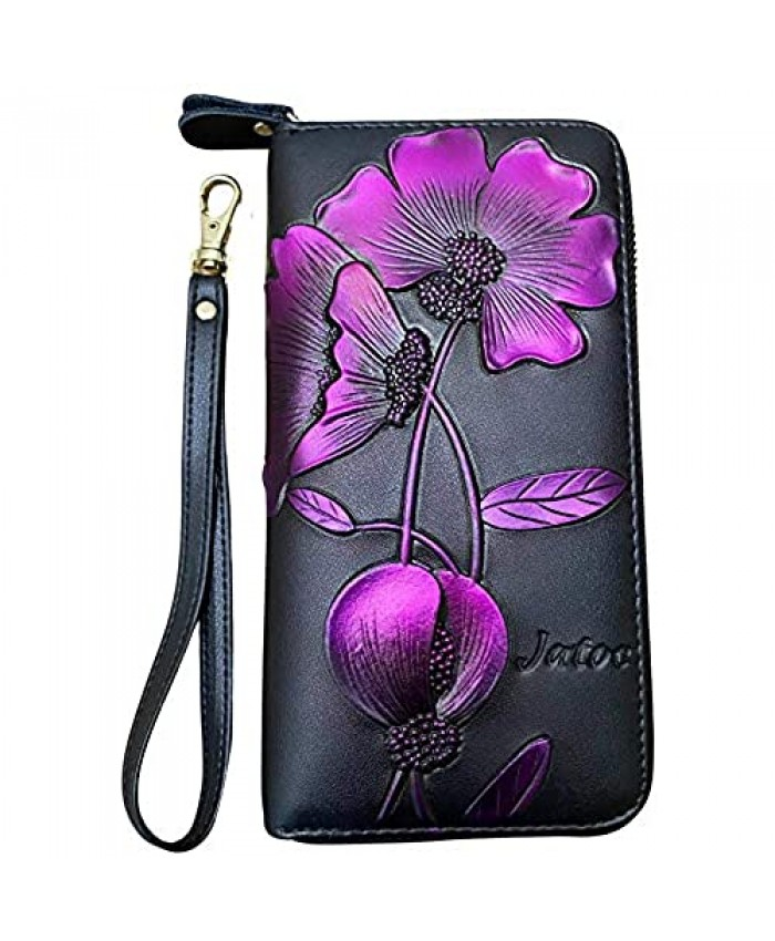 Wallet for women Cute wallets for Women and Ladies Black Leather Large capacity Wristlet design RFID blocking wallet by JATOC