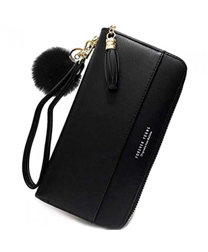 Wallet-NEWANIMA Women Multi-card Two Fold Long Zipper Clutch Purse (Style10-Black)