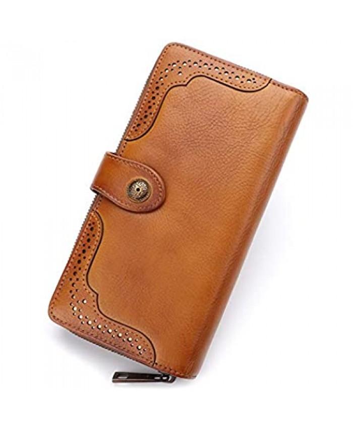 Women Wallet Genuine Leather Long Purse Zip Around Vintage Cowhide Handmade Clutch Card Holder Organizer (Brown)