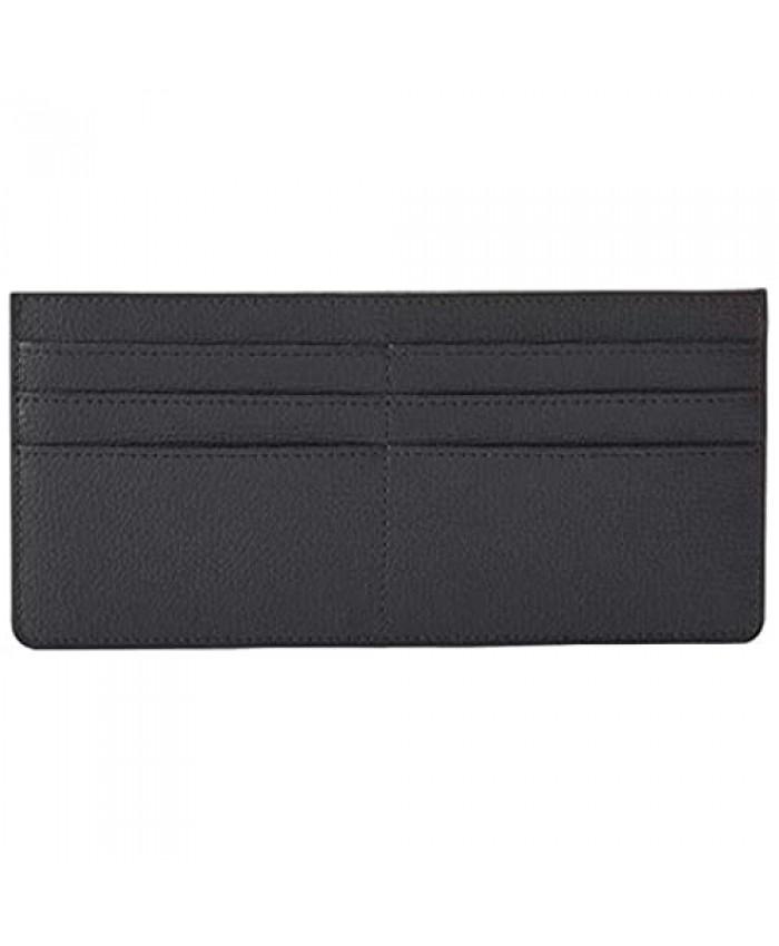 Women's Credit Card Slim Leather Wallet Zipper Pocket Purse for Clutch Bag Black