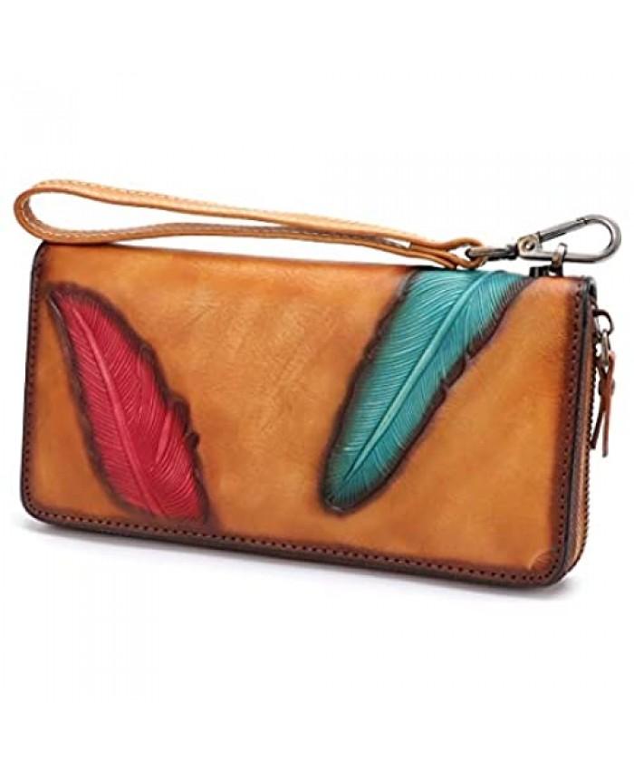 Women's Wallet Genuine Leather Zip Around Wristlet Long Purse Vintage Embossing Cowhide Capacity Handmade Clutch(Brown)