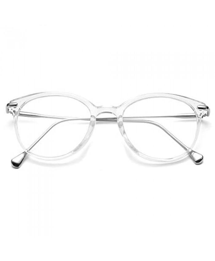 COASION Vintage Round Clear Glasses Non-Prescription Eyeglasses Frames for Women Men