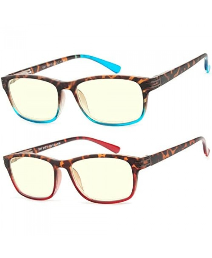 Computer Glasses 2 Pair Anti Glare Spring Hinge Ombre Color Computer Reading Glasses for Men and Women