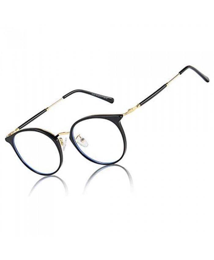 DUCO Superlight Blue Light Blocking Computer Gaming Glasses for Women Men Round Frame Eyeglasses Faye W013
