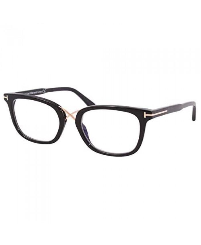 Eyeglasses Tom Ford FT 5637 -B 001 Shiny Black Rose Gold/Blue Block Lenses
