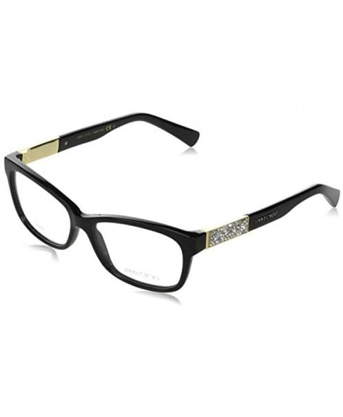 Jimmy Choo Plastic Rectangular Eyeglasses 53 029A Shiny Black
