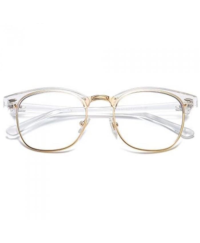 SOJOS Retro Semi Rimless Blue Light Blocking Glasses Half Horn Rimmed Eyeglasses SJ5018