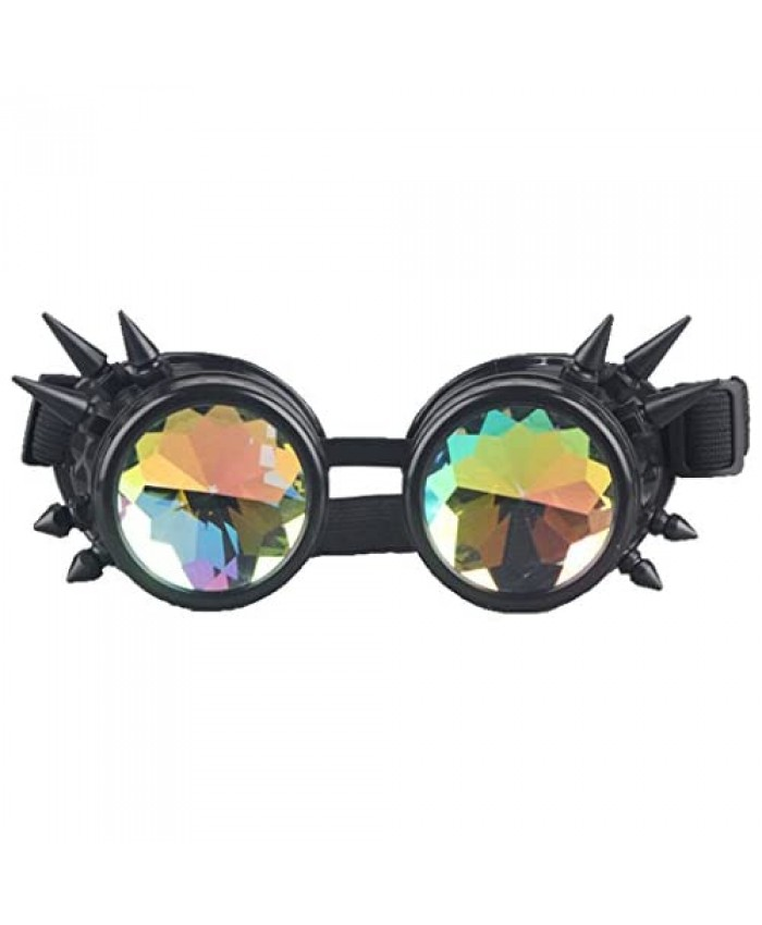 Kaleidoscope Rave Rainbow Crystal Lenses Steampunk Goggles…