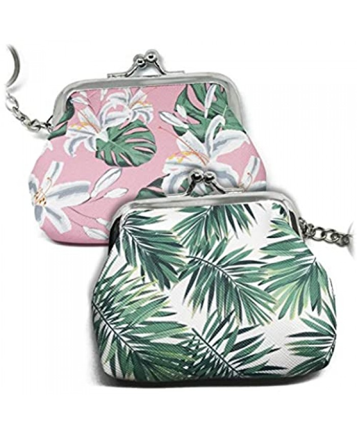 (2 Pack) Monstera and Lily Flower Coin Purse Fan Palm Leaf Coin Purse Kiss-lock Clasp Change Purse Keychain Wallet