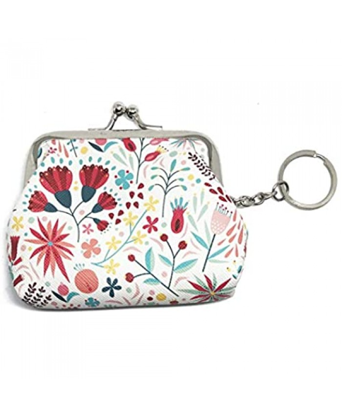 Carnation Flower Tulips Nordic Pattern Coin Purse Kiss-lock Clasp Keychain Wallet Teacher's Day Gift