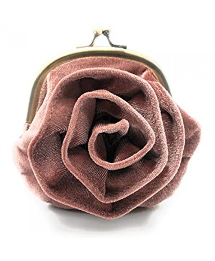 Coin Purse Cute Rose Buckle Pink Vintage Velvet Change Pouch Kiss Lock Clasp Small Retro Wallet Woman Gift