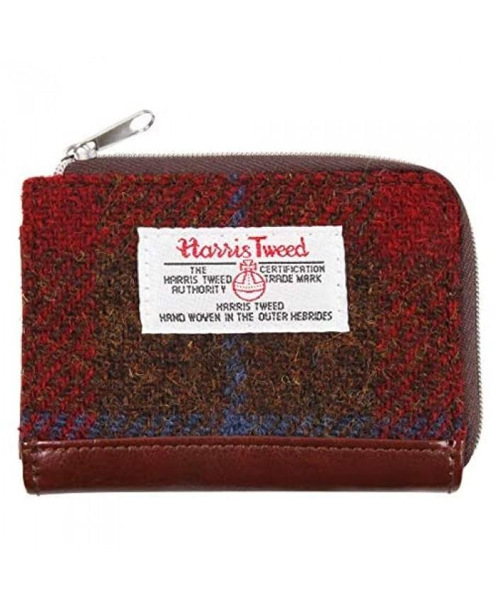 Harris Tweed Plaid Tartan Small Zipped Wallet Coin Purse