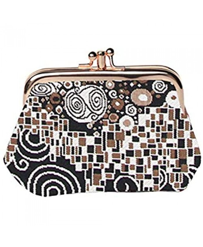 Signare Tapestry Cute exquisite Double Pocket Kiss lock Coin Purse for Women with Gustav Klimt The Kiss Design (FRMP-KISS)