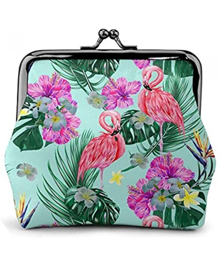 Tropical Palm Leaves Hawaii Flamingo Blue Animal Girl Pouch Kiss-Lock Change Purse Wallets Buckle Leather Coin Purses Bag Key Woman Printed Vintage