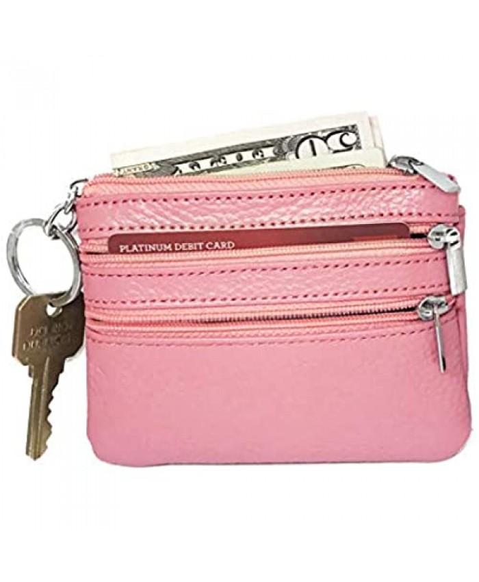 Unisex Genuine Leather Coin Purse - Mini Pouch - Money Organizer - Change Wallet with Keychain (Pink)