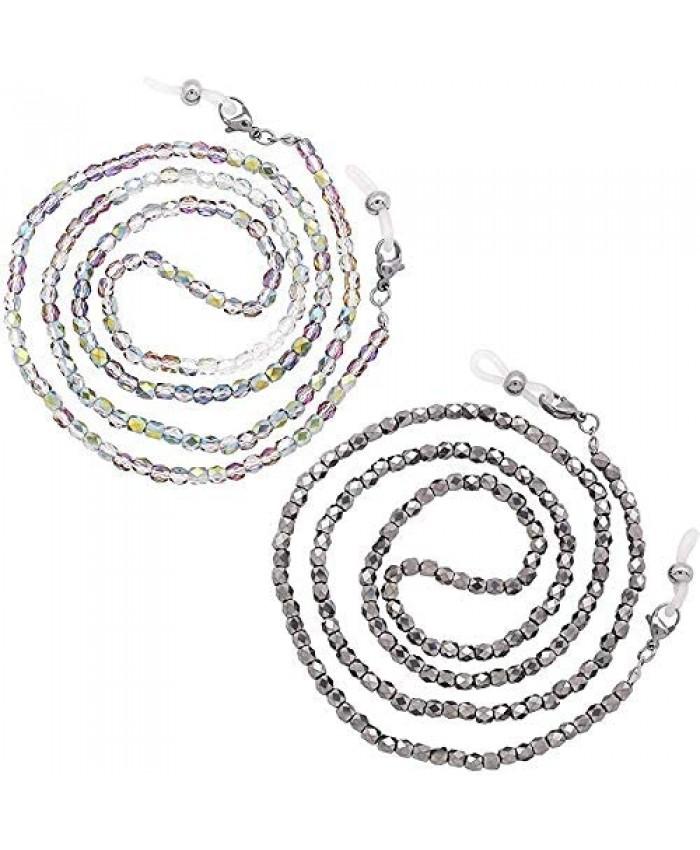 2Pcs Glass Bead Mask Chain for Women Sunglasses Eyeglasses Chain Strap Holder