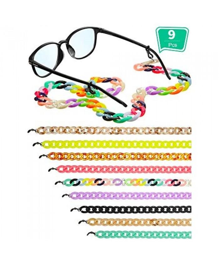 9 Pieces Acrylic Glasses Chain Reading Eyeglass Strap Sunglasses Holder Necklace Around Neck Eyewear Retainer for Women Men
