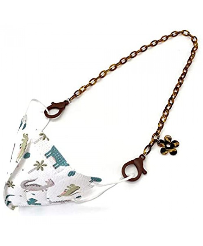 Acrylic Face Mask Holder chain Women's face mask Lanyards for Kids Trendy Fashion Face Shield Strap Retainer Necklace Convenient Safety Holder for face mask hanging for Women Kids (Brown)