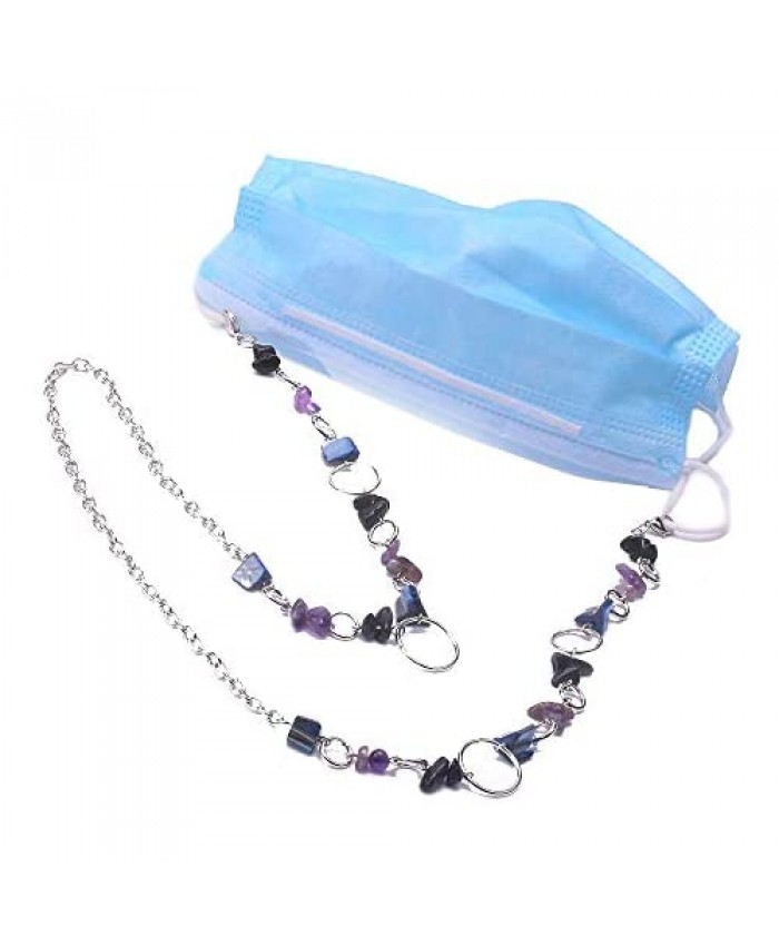 anxo Mask and Glasses Chain Necklace Natural Stone Beads Mask Holder