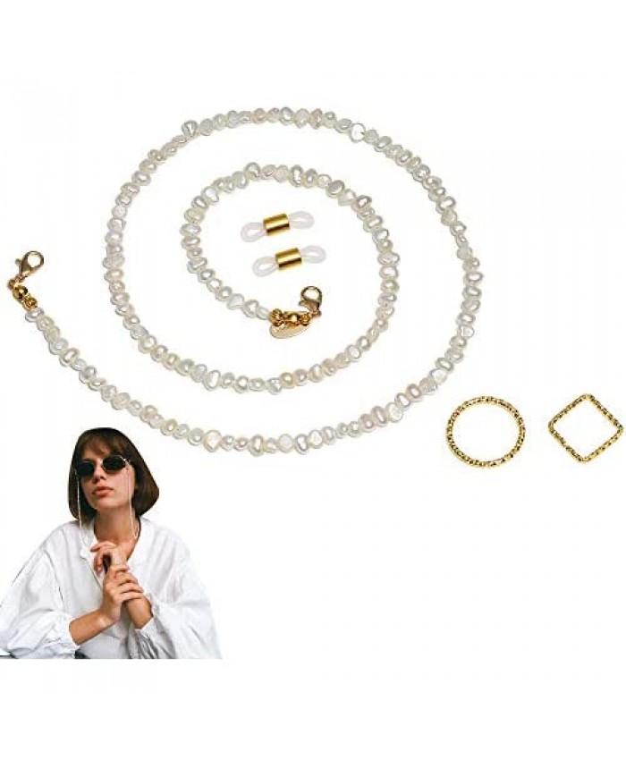 SANARITA Glasses Chain for Women Eyeglasses Fresh Pearl Cubic Zirconia Classic String Holder Eye Glass Straps