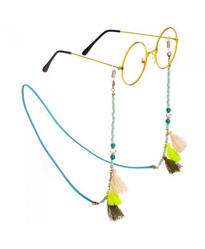 VINCHIC Colorful Beaded Eyeglass Chain Sunglass Holder Strap Eyeglass Necklace Chain Cord for Women (colored beaded 8)