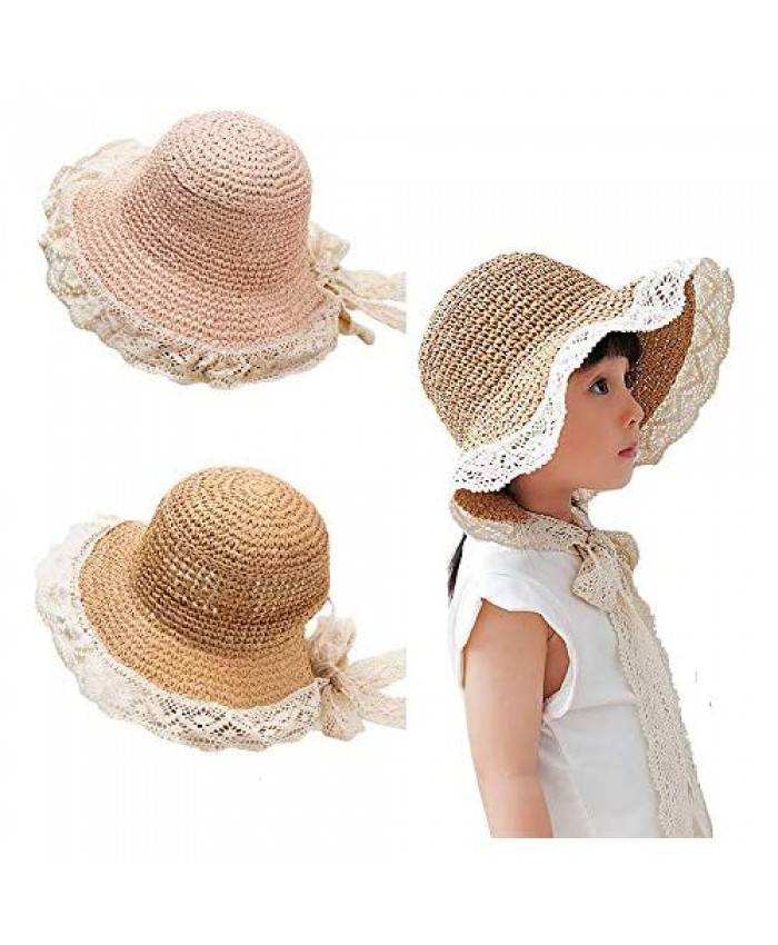 2 Pack Toddler Kids Girls Straw Sun Hat Wide Brim Floppy Beach Summer Bonnet Hat Cap with Lace Strap