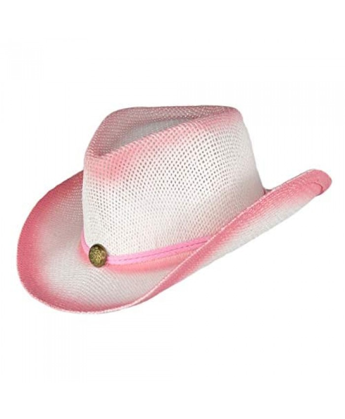 Kids Rodeo Ombre Cowboy Hat with Drawstring Dress Up Straw Cowgirl Hats for Girls