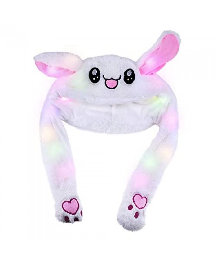 Topwon Cute Plush Bunny Hat Rabbit Cap - Ears Popping Up When Pressing The Paws (LED Bunny Hat)